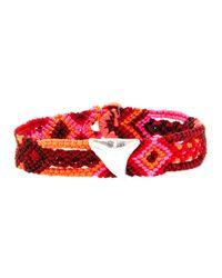 Dezso by Sara Beltran - Pink Handwoven Shark Tooth Bracelet - Lyst