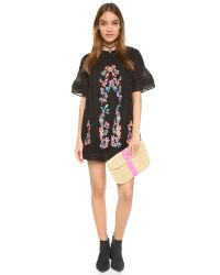 Free People - Black Perfectly Victorian Embroidered Mini Dress - Lyst