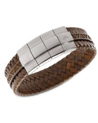 Emporio Armani | Braided Brown Leather Bracelet Egs1535040 | Lyst