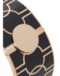 Halcyon Days - Black Harlequin Rose Gold Plated Bangle - Lyst