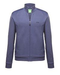 BOSS Green | Blue Sweatshirt Jacket 'skaz 1' In Cotton Blend for Men | Lyst