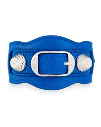 Balenciaga | Blue Giant 12 Leather Buckle Bracelet | Lyst