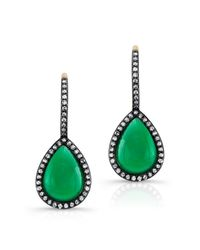 Anne Sisteron | 14kt Yellow Gold Green Agate Diamond Rosecut Earrings | Lyst