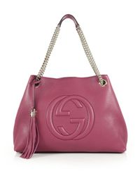 Gucci - Pink Soho Leather Shoulder Bag - Lyst