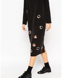 ASOS - Black White Midi Funnel Neck Dress With Eyelet Detail - Lyst