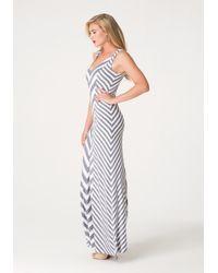 Bebe - Gray Chevron Striped Maxi Dress - Lyst