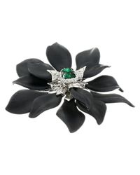 Alexis Bittar | Black Fancy Emerald Crystal Encrusted Articulating Flower Pin | Lyst