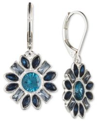 Nine West - Metallic Silver-tone Multi-crystal Floral Drop Earrings - Lyst
