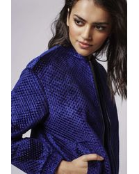 TOPSHOP - Blue Textured Velvet Bomber Jacket - Lyst