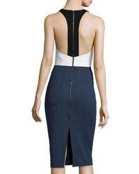 Cedric Charlier - Blue Colorblock Apron-front Dress - Lyst