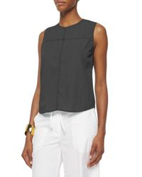 Eileen Fisher - Gray Fisher Project Tencel/cotton Shell - Lyst