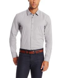 BOSS - Gray 'ronni'   Slim Fit, Stretch Cotton Button Down Shirt for Men - Lyst