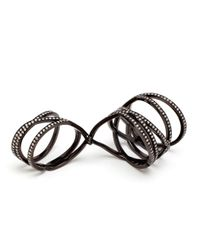 Repossi - 18K Black Gold And Diamond Double Ring - Lyst