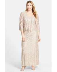 Alex Evenings | Metallic Sequin Lace Gown & Jacket | Lyst