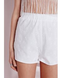 Missguided - Broderie Anglaise Shorts White - Lyst