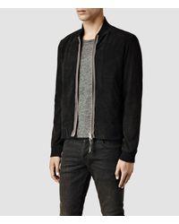 AllSaints | Black Touvier Leather Bomber Jacket for Men | Lyst