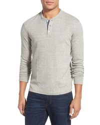 Faherty Brand Gray 'duofold' Double Layer Long Sleeve Henley for men