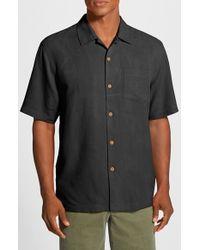 Tommy Bahama | Gray 'bedarra' Jacquard Silk Camp Shirt for Men | Lyst