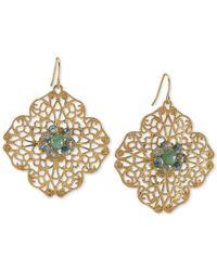 Carolee - Metallic Gold-Tone Green Stone Openwork Drop Earrings - Lyst