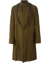 Ann Demeulemeester - Green Zip Bib Single Breasted Coat for Men - Lyst