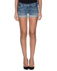 7 For All Mankind - Blue Denim Shorts - Lyst
