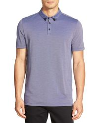 HUGO | Blue Regular Fit Textured Polo for Men | Lyst