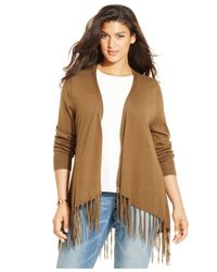 Michael Kors | Brown Michael Plus Size Flyaway Fringed Cardigan | Lyst