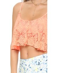 Lovers + Friends - Red Lovers Friends Delight Crop Top Coral Lace - Lyst