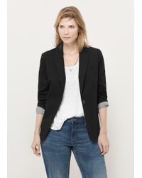 Violeta by Mango - Black Structured Cotton Blazer - Lyst