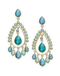 Lauren by Ralph Lauren - Blue 14k Goldtone Reconstituted Turquoise Chandelier Earrings - Lyst