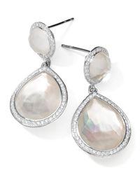 Ippolita - Metallic Stella 2-stone Drop Earrings In Mother-of-pearl Doublet With Diamonds - Lyst