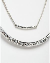 Lipsy | Metallic Crystal Set Bar Multirow Necklace | Lyst