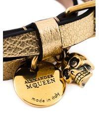 Alexander McQueen   Metallic Double Wrap Skull Bracelet   Lyst