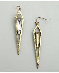 R.j. Graziano | Metallic Gold Vertical Hanging Dagger Earring | Lyst