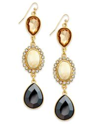 INC International Concepts | Metallic Gold-tone Crystal And Stone Triple Drop Earrings | Lyst