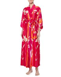 Natori - Red Izabella Floral-Print Wrap Robe - Lyst