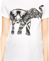 ASOS - White Exclusive Tshirt with Henna Elephant Print - Lyst