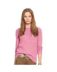 Polo Ralph Lauren | Pink Slim-fit Cabled Cashmere | Lyst