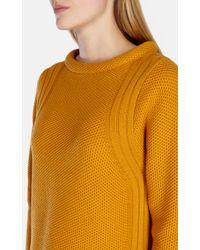 Karen Millen   Yellow Stand Up Collar Wool Jumper   Lyst