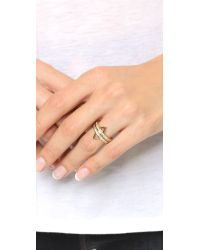 Rebecca Minkoff   Metallic Stack Triangle Ring Set - Gold/clear   Lyst