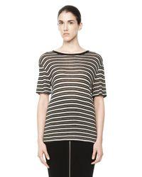 Alexander Wang | Multicolor Stripe Linen Short Sleeve Tee | Lyst
