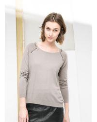 Mango - Gray Bead Shoulder Sweater - Lyst