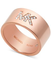 Michael Kors | Pink Crystal Logo Band Ring | Lyst