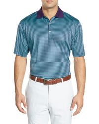 Peter Millar - Blue 'classic Stripe' Short Sleeve Polo for Men - Lyst