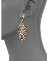 Oscar de la Renta | Metallic Pave Crystal Marquis Drop Earrings | Lyst