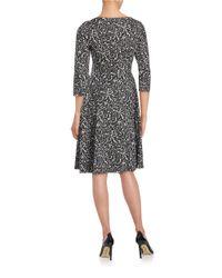 Ivanka Trump - Metallic Patterned Knit Fit-and-flare Dress - Lyst