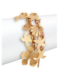 Oscar de la Renta - Metallic Two-row Seashell Bracelet/goldtone - Lyst