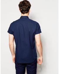 ASOS - Blue Shirt In Short Sleeve With Popper Fastening for Men - Lyst