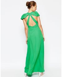 ASOS - Green Flutter Maxi With Cut Out Back Dress - Lyst