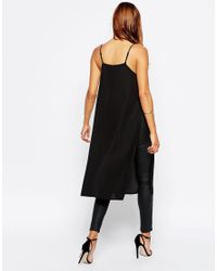 ASOS - Black Longline High Neck Cami Top With Side Splits - Lyst